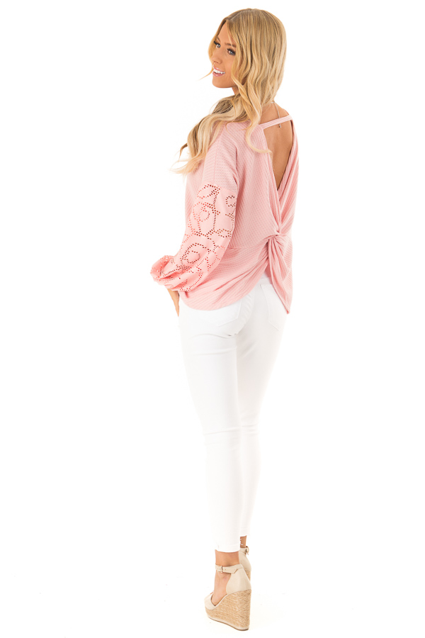 Carnation Pink Open Back Top with Contrast Balloon Sleeves side full body