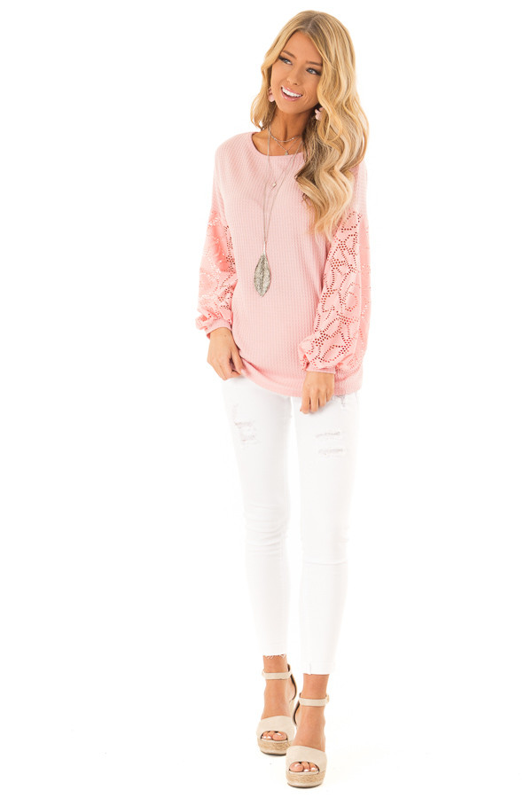Carnation Pink Open Back Top with Contrast Balloon Sleeves front full body