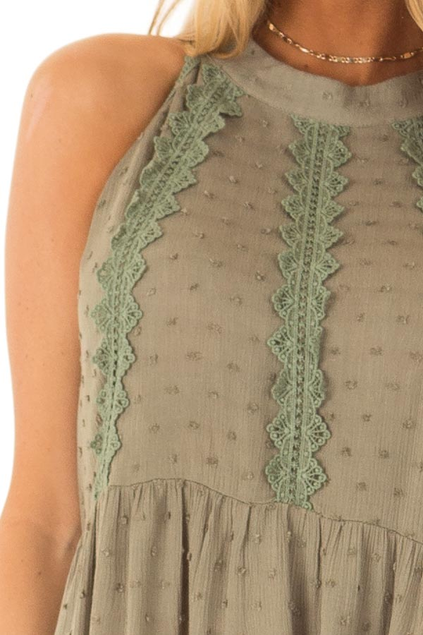 Olive High Neck Tank Top with Swiss Dot and Lace Details detail
