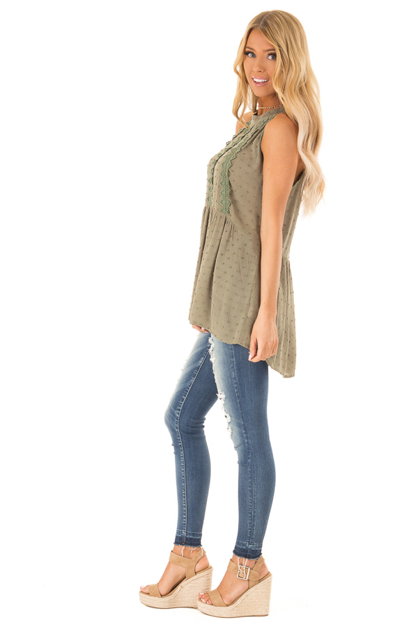 Olive High Neck Tank Top with Swiss Dot and Lace Details side full body
