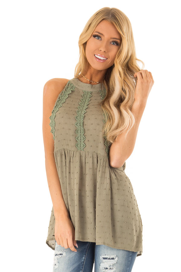 a7a4c8dbf7692b Olive High Neck Tank Top with Swiss Dot and Lace Details - Lime Lush ...
