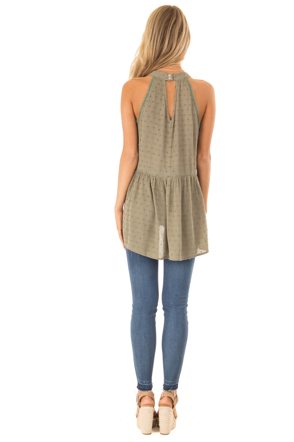 Olive High Neck Tank Top with Swiss Dot and Lace Details back full body