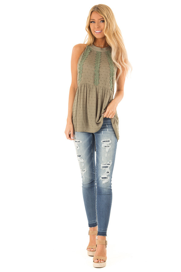 Olive High Neck Tank Top with Swiss Dot and Lace Details front full body