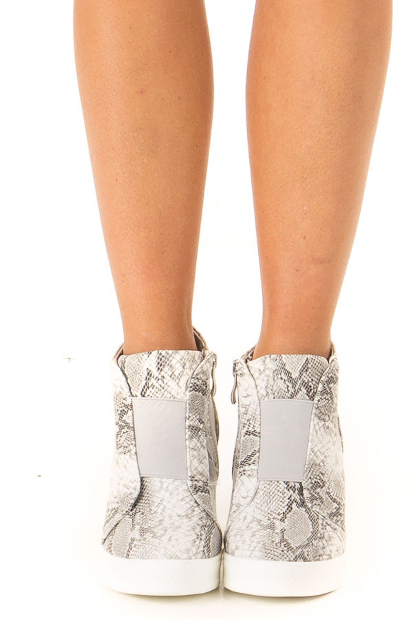 Pebble Grey Snake Print Wedge Sneaker with Zipper front view