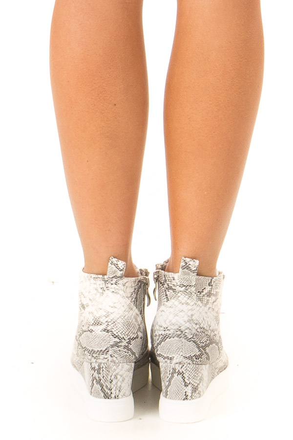 Pebble Grey Snake Print Wedge Sneaker with Zipper back view