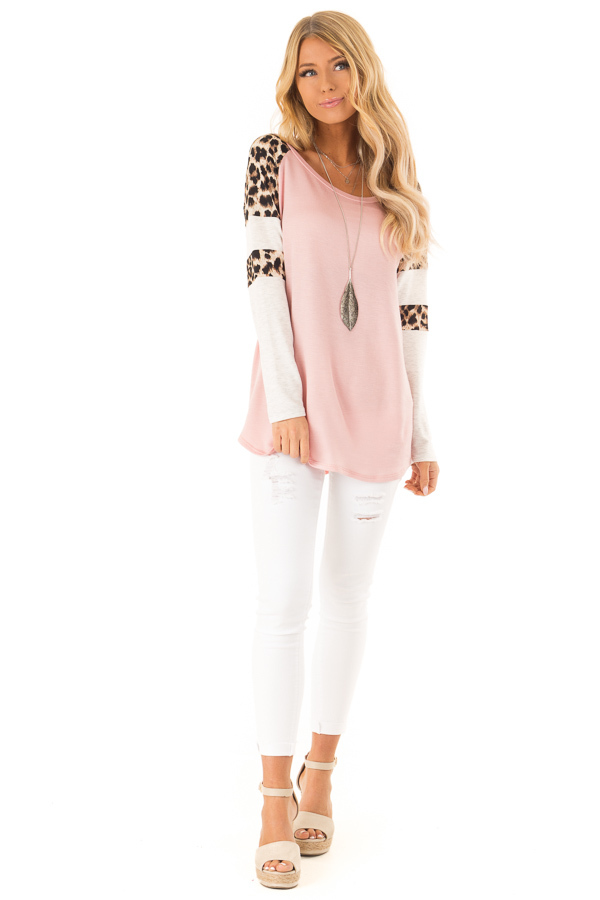 Dusty Pink Long Sleeve Top with Leopard Print Contrast front full body