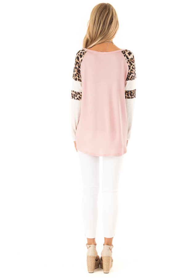 Dusty Pink Long Sleeve Top with Leopard Print Contrast back full body