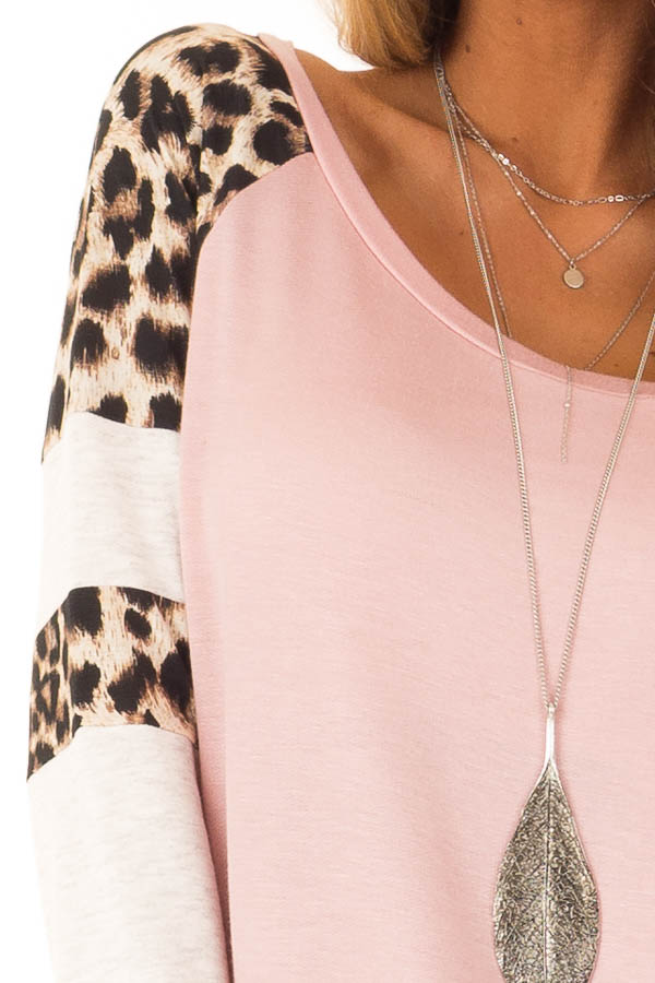 Dusty Pink Long Sleeve Top with Leopard Print Contrast detail