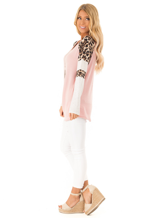Dusty Pink Long Sleeve Top with Leopard Print Contrast side full body
