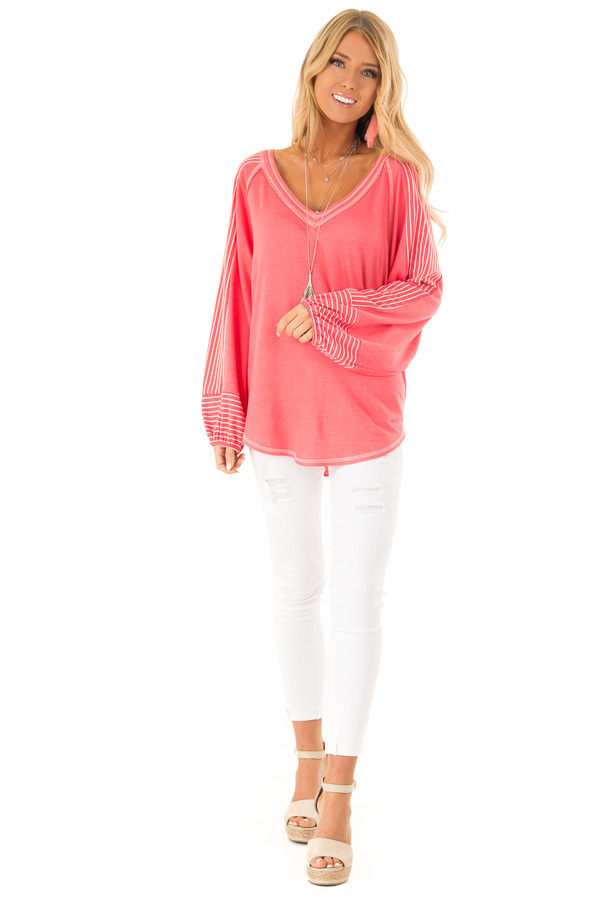 Coral V Neck Top with Contrasting Striped Long Sleeves front full body