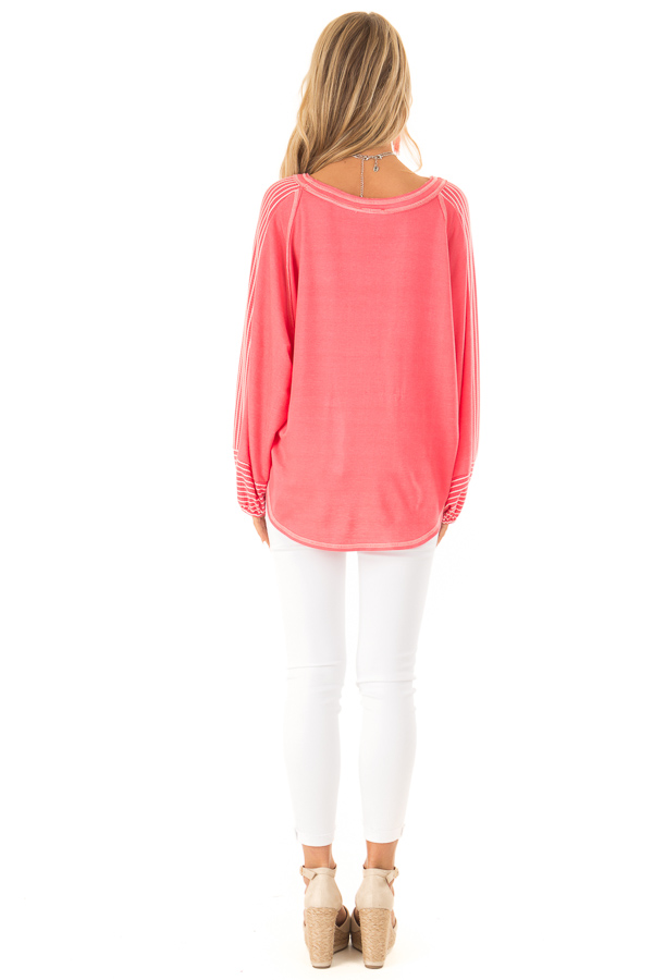 Coral V Neck Top with Contrasting Striped Long Sleeves back full body