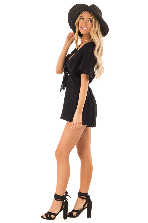 12a2fb44967 ... Raven Black Short Flutter Sleeve Romper with Front Tie side full body  ...