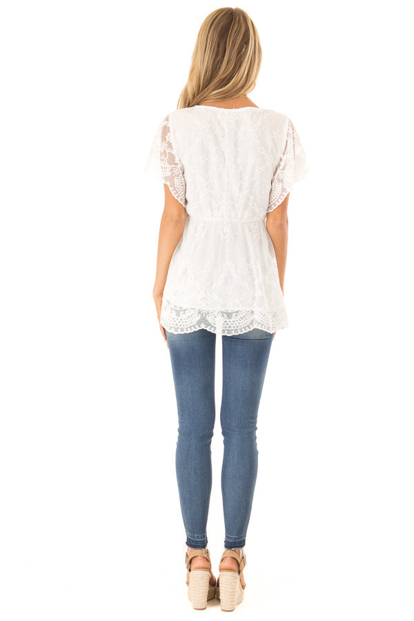 Porcelain Babydoll Short Sleeve Top with Lace Overlay back full body