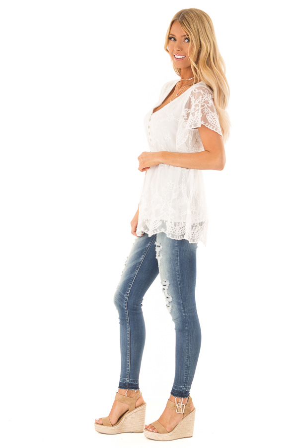Porcelain Babydoll Short Sleeve Top with Lace Overlay side full body