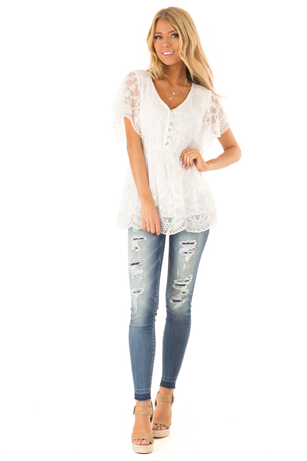 Porcelain Babydoll Short Sleeve Top with Lace Overlay front full body