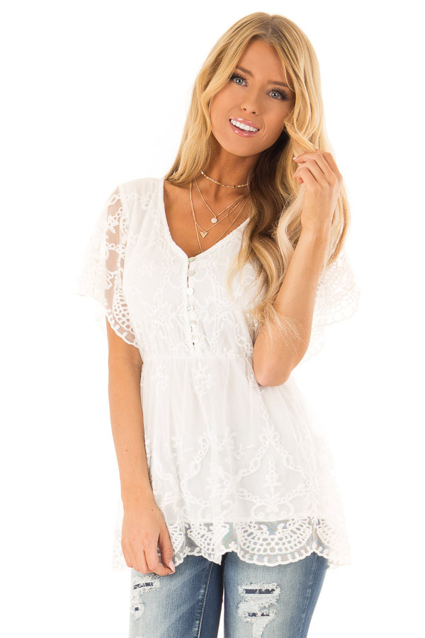 Porcelain Babydoll Short Sleeve Top with Lace Overlay front close up