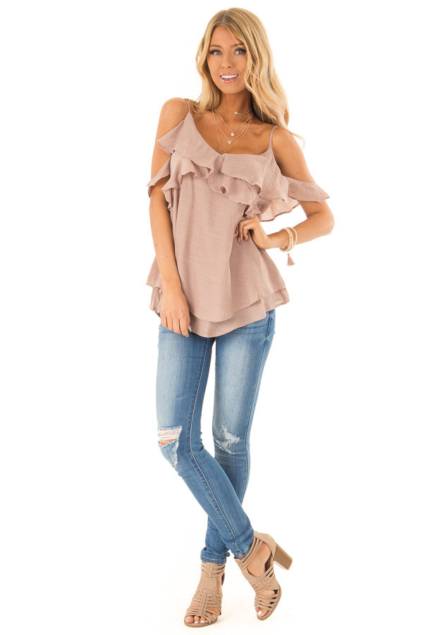 Latte Cold Shoulder Top with Ruffle Details front full body