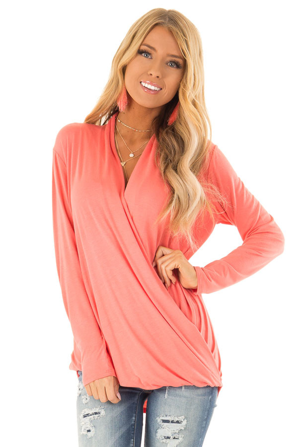 Coral Long Sleeve Surplice Top with Elastic Hemline front close up
