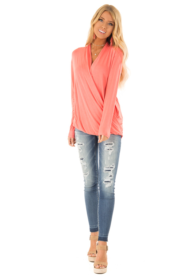 Coral Long Sleeve Surplice Top with Elastic Hemline front full body