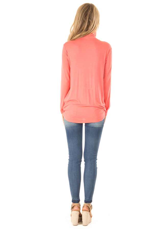 Coral Long Sleeve Surplice Top with Elastic Hemline back full body