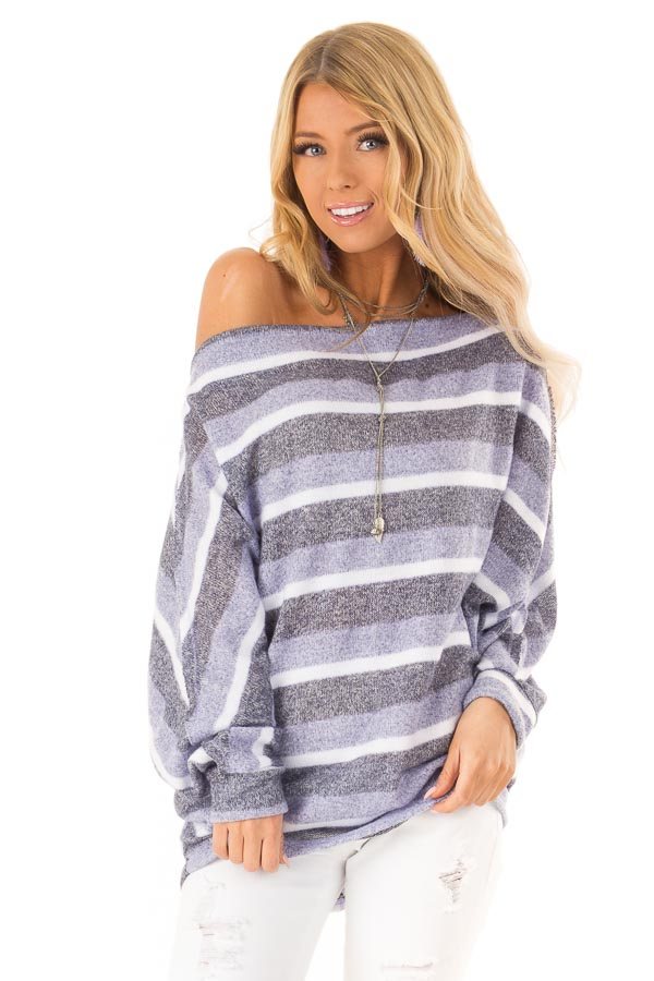 8115d4fc733 Lilac Striped Off the Shoulder Long Dolman Sleeve Top - Lime Lush ...