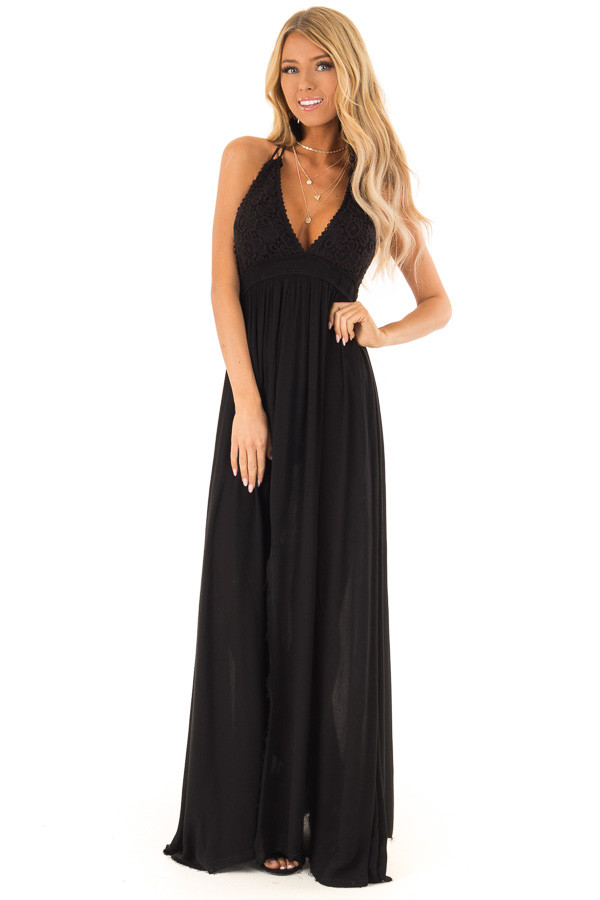 b79384affa ... Jet Black Halter Top Maxi Dress with Lace Details front full body ...