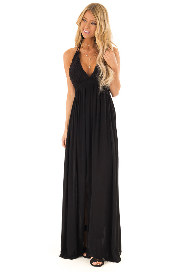 d675e09ef53 ... Jet Black Halter Top Maxi Dress with Lace Details front full body ...
