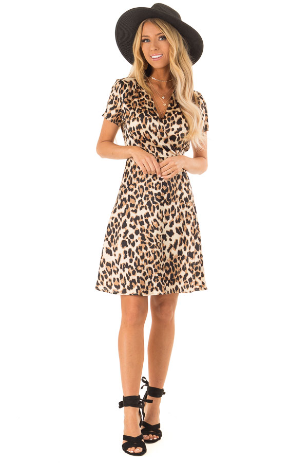 Leopard Print Short Sleeve Wrap Dress with Tie Detail front full body