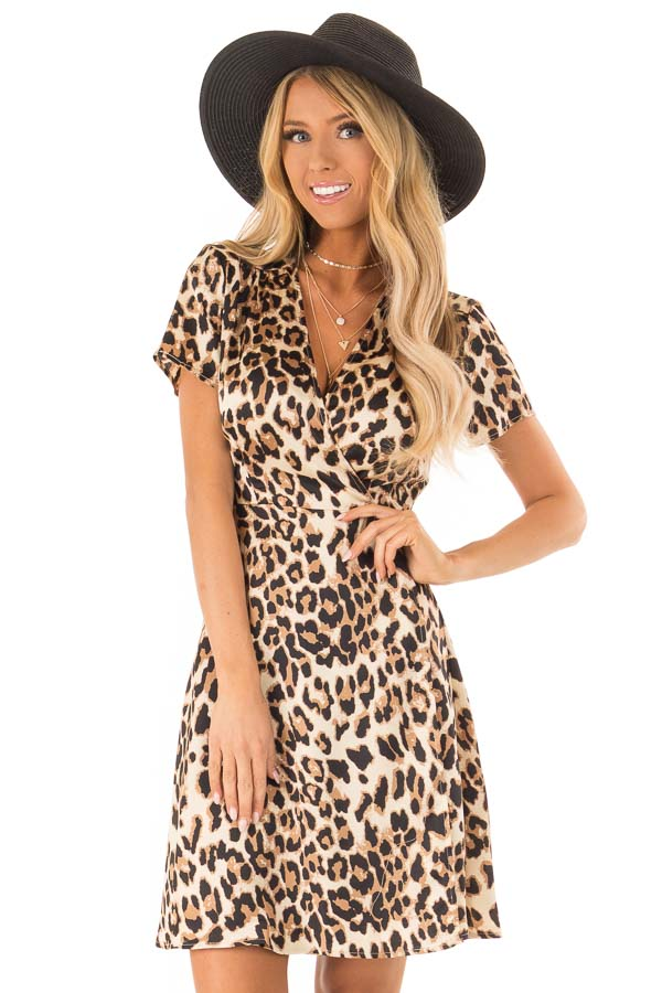 Leopard Print Short Sleeve Wrap Dress with Tie Detail front close up