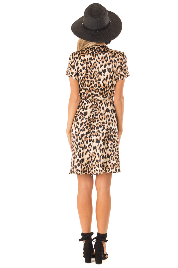 Leopard Print Short Sleeve Wrap Dress with Tie Detail back full body