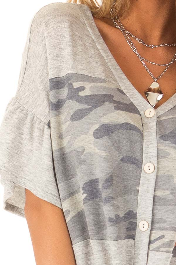 Heather Grey and Camo Button Up Top with Ruffle Sleeves detail