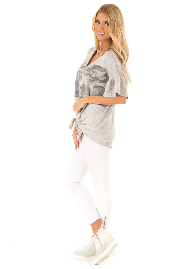 Heather Grey and Camo Button Up Top with Ruffle Sleeves side full body