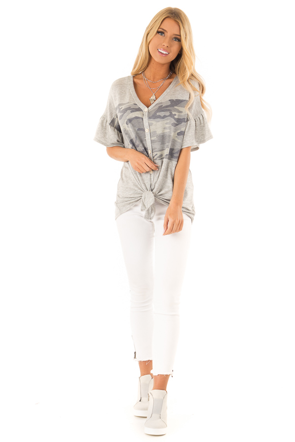 Heather Grey and Camo Button Up Top with Ruffle Sleeves front full body