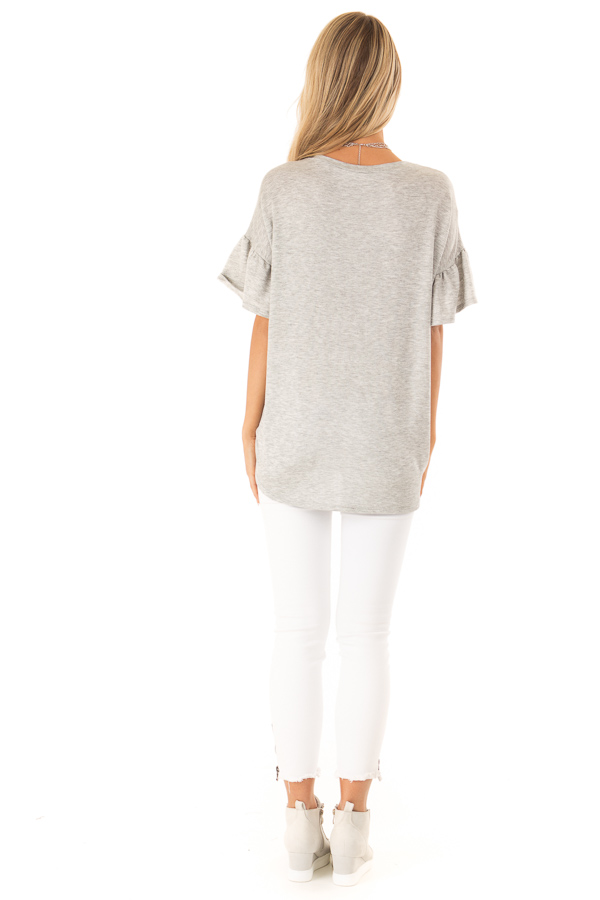 Heather Grey and Camo Button Up Top with Ruffle Sleeves back full body