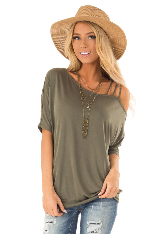 Olive Soft Asymmetrical Off the Shoulder Top front close up