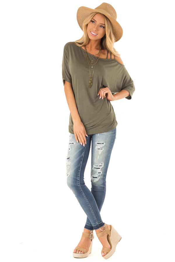 Olive Soft Asymmetrical Off the Shoulder Top front full body