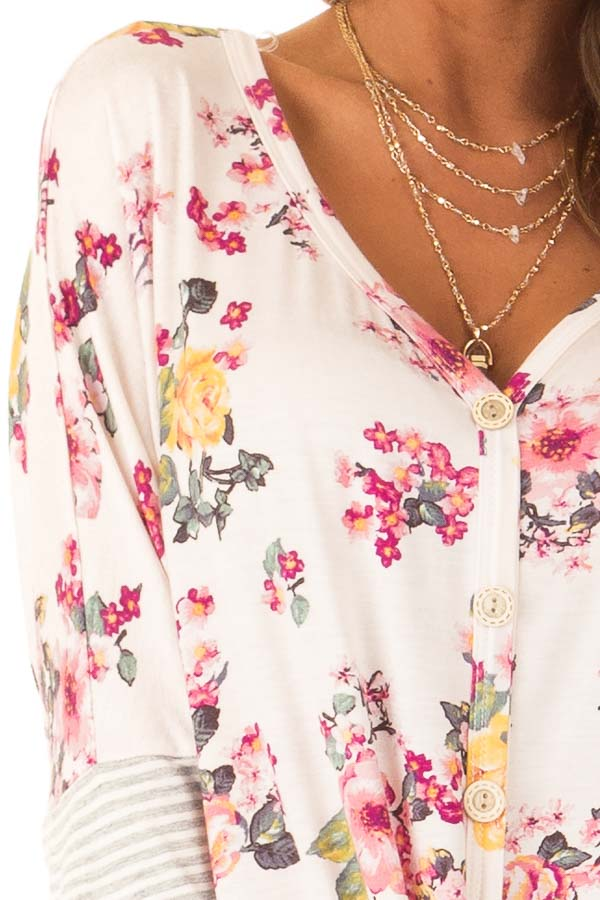 Blush Floral Print Button Up Top with Front Tie detail