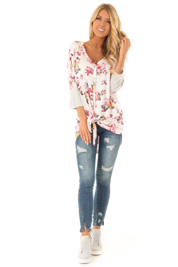 Blush Floral Print Button Up Top with Front Tie front full body