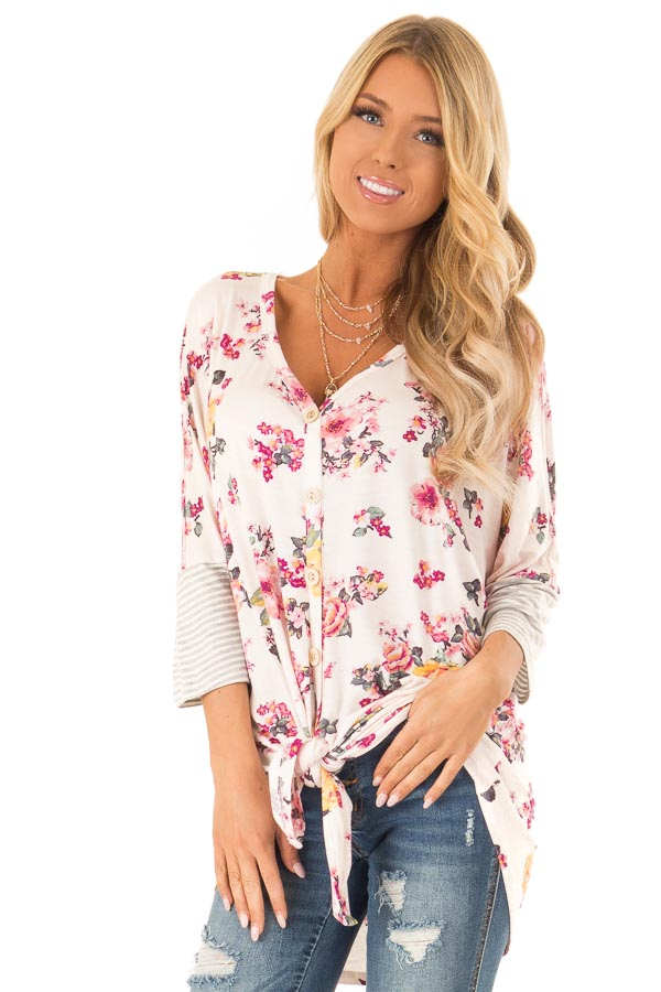 Blush Floral Print Button Up Top with Front Tie front close up