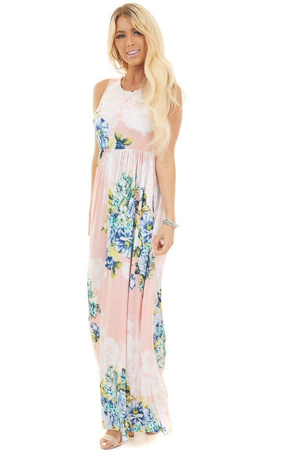 Coral Floral Print Sleeveless Slinky Maxi Dress with Pockets