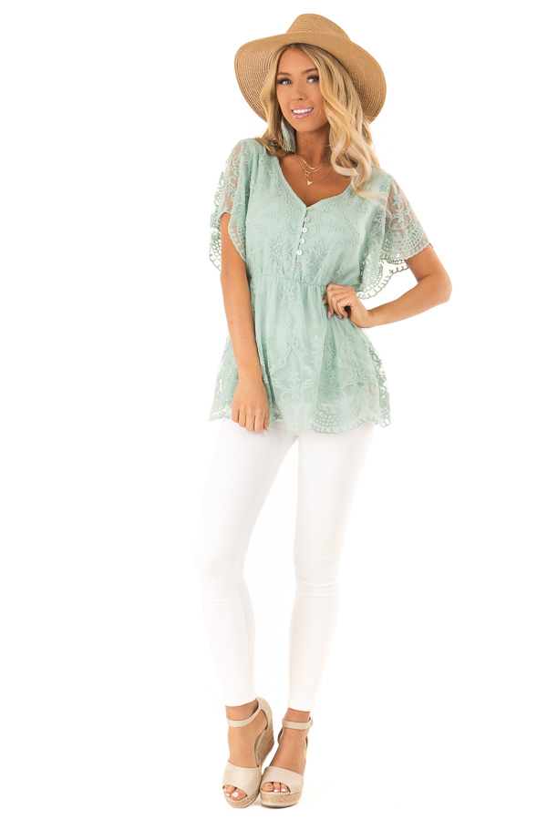 Dusty Mint Babydoll Short Sleeve Top with Lace Overlay front full body