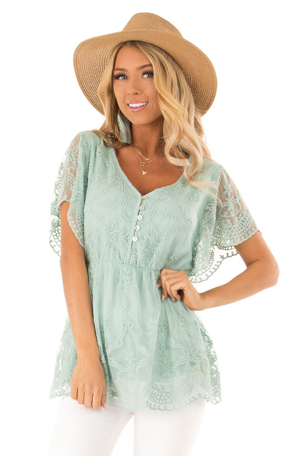 Dusty Mint Babydoll Short Sleeve Top with Lace Overlay front close up