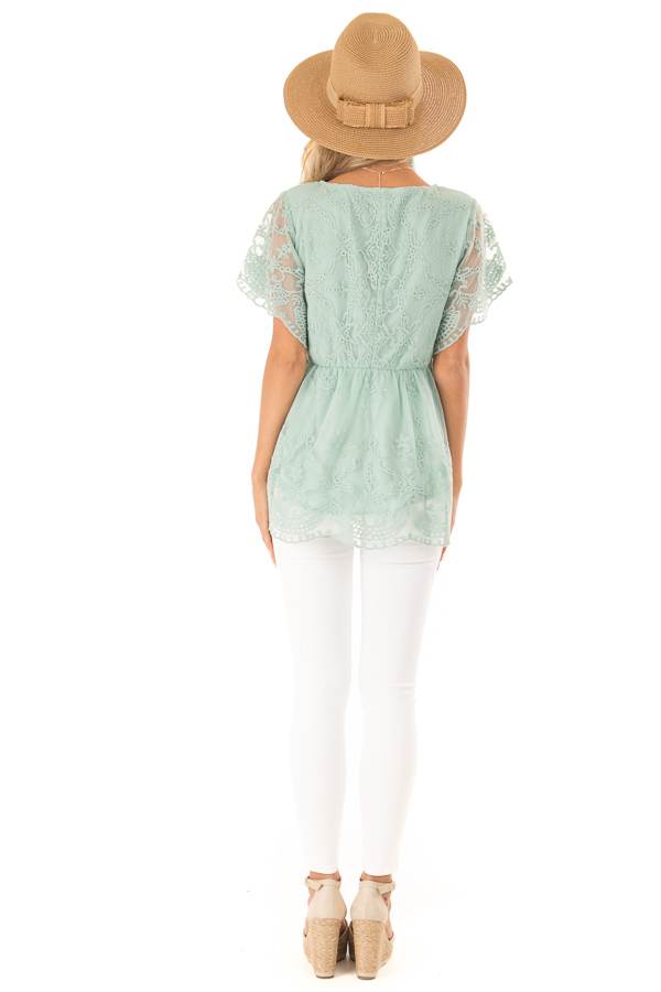 Dusty Mint Babydoll Short Sleeve Top with Lace Overlay back full body