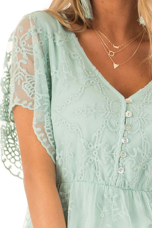 Dusty Mint Babydoll Short Sleeve Top with Lace Overlay detail