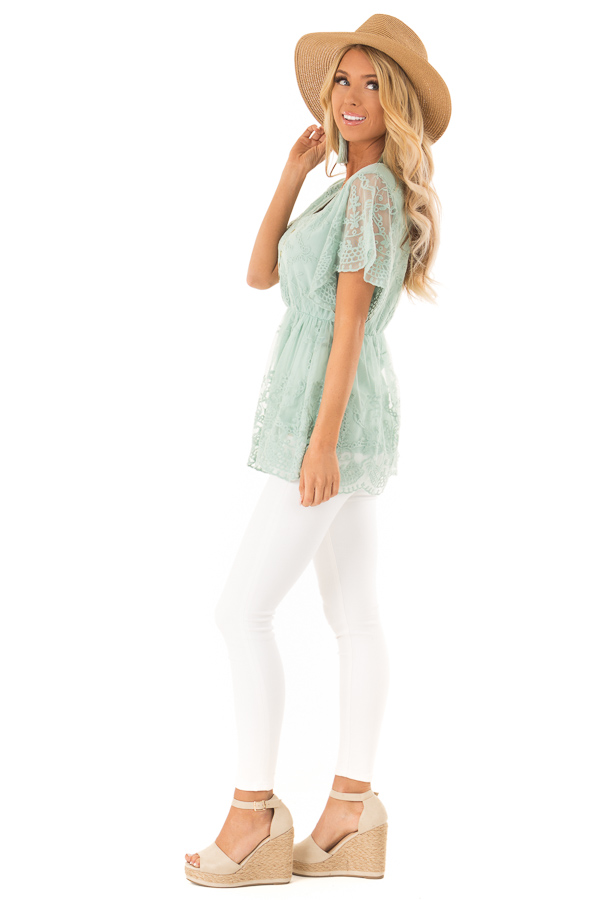Dusty Mint Babydoll Short Sleeve Top with Lace Overlay side full body