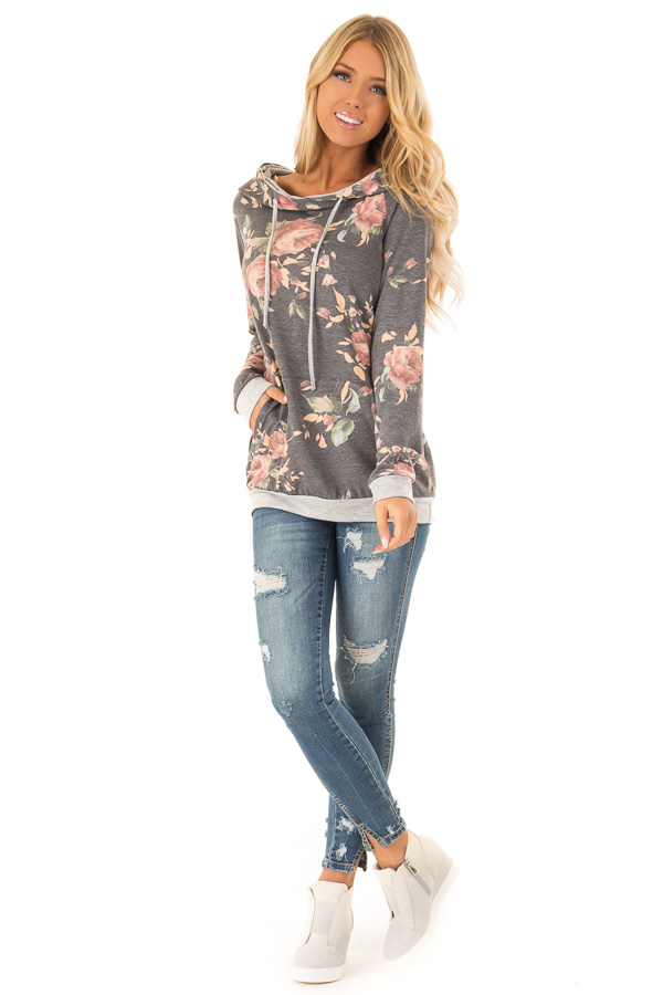Charcoal Hoodie with Floral Print and Kangaroo Pocket front full body