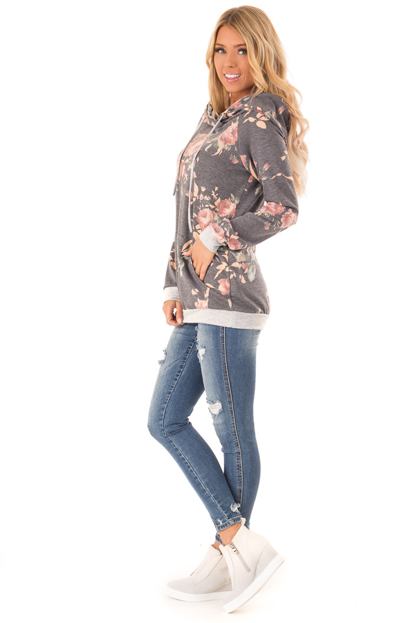 Charcoal Hoodie with Floral Print and Kangaroo Pocket side full body