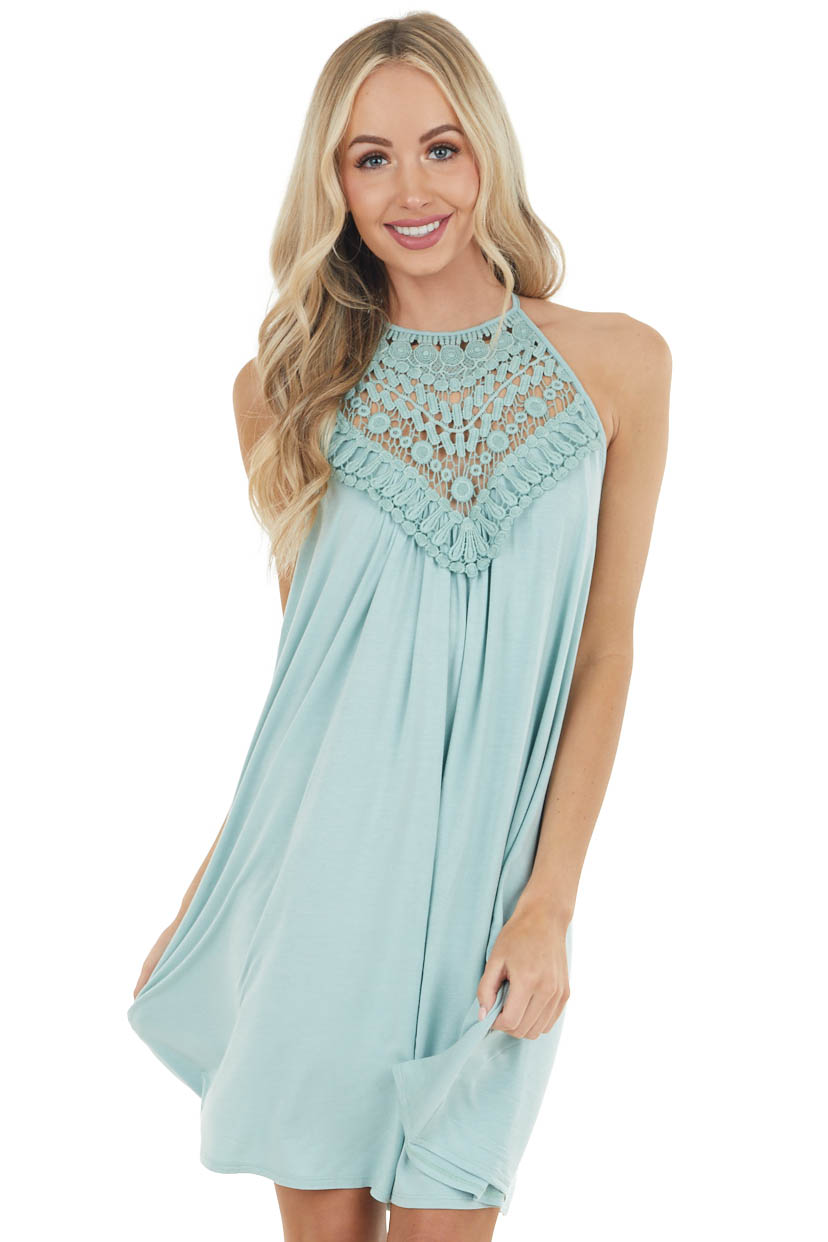 Mint Green Short Dress with Lace Front and Keyhole Back