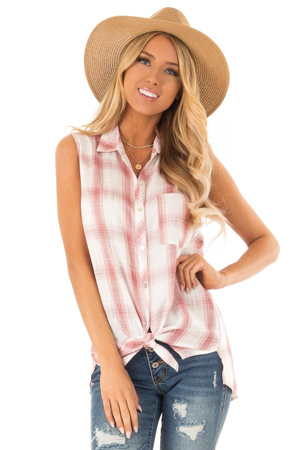 Dusty Rose Plaid Sleeveless Button Up Collared Top front close up