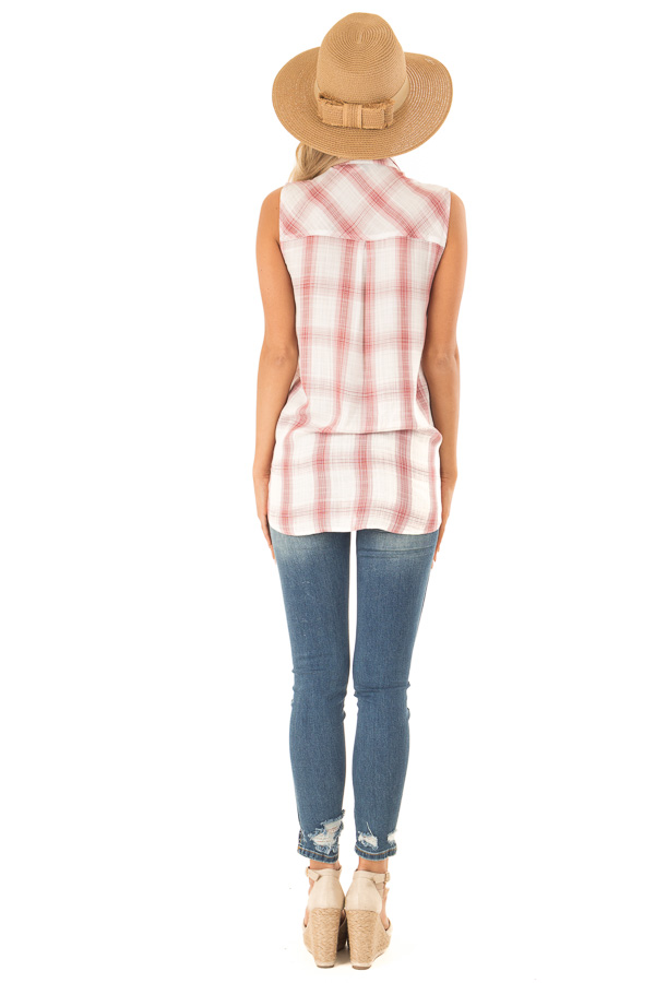 Dusty Rose Plaid Sleeveless Button Up Collared Top back full body